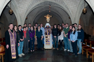 Metropolitan Jonah with Father Constantine White and students at the Georgetown University Orthodox Christian Fellowship (OCF).