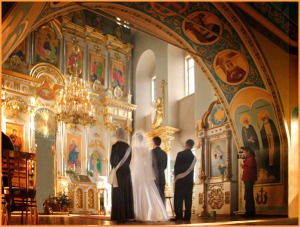 Orthodox couple waiting for priest to arrive