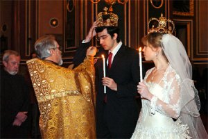Orthodox wedding crowning