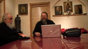 Metropolitan Jonah laughing with the study group on Khouria Frederica Mathewes-Green's observation that the Orthodox are the only Christian group which still needs to write bass parts for its church music.