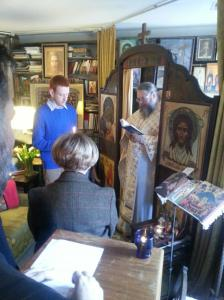 Metropolitan Jonah serving Liturgy at the late Bishop Basil's apartment chapel on February 21, 2013.
