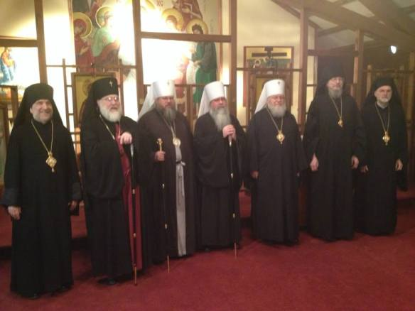 Monday, May 27, at St Tikhon's Monastery: From left: Bishop Michael, Archbishop Benjamin, former OCA Metropolitan Jonah, current OCA Metropolitan Tikhon, ROCOR Metropolitan Hilarion, Bishop Melchizedek, and Bishop Mark.