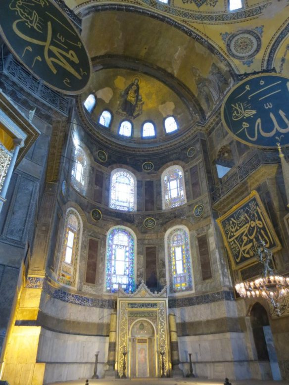 On Mehmed II's orders, the Christian altar was removed and in its place a mihrab erected. This niche in the wall indicates the qibla, the direction toward the Kaaba in Mecca. As you can see, this is obviously aesthetically off-center, as the building was clearly designed to face cardinally east.