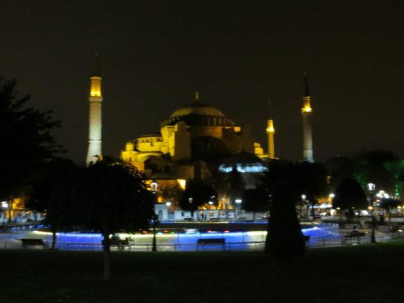 "Hagia Sophia at night, as it appears today. Upon his conquest of Constantinople, Mehmed II converted Hagia Sophia into a mosque to symbolize the conquest of the ancient heart of Byzantine Christianity and Islam's superseding of Orthodox Christianity in the Eastern Mediterranean. Mehmed also took upon himself the title ""Caesar of the Romans"" (Ottoman Turkish: Kayser-i-Rûm), believing that the mantle of the Classical, then Christian Roman Empire which Byzantium had preserved for a millennium had fallen to him, the ruler of much of the Muslim world.  Mehmed's claim, rejected by the Grand Duchy of Moscow and the Holy Roman Empire which both claimed to be the true successor to Constantine's city, rested with the concept that Constantinople was the seat of the Roman Empire, after the transfer of its capital to Constantinople in 330."