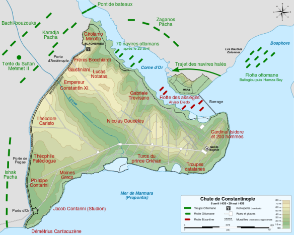 This map in French gives an approximation of the Venetian and Genoan positions on the walls of Constantinople during their defense of the city alongside the Byzantines.