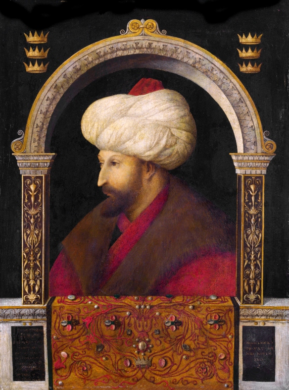 "The Venetian painter Gentile Bellini (1429-1507), official painter to the Doges of Venice, rendered this portrait of Ottoman Sultan Mehmed II Fetih (""the Conqueror"")."
