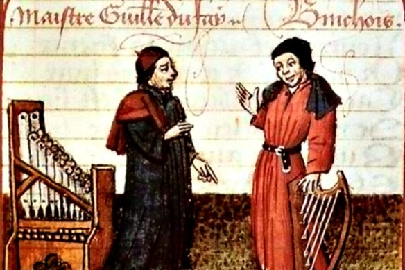 Master choralist Guillaume Dufay (of the Burgundian School) shown with Gilles Binchois.