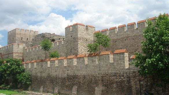 The restored fourth century Theodosian Walls commissioned by St. Emperor Theodosius I (347-395, r. 379-395 as Byzantine Empire, from 392 over reunited West and East). Prior to the 1453 siege which involved the terrifying use of massive bombards (huge, cumbersome siege cannons) by Mehmed II's forces, these walls were believed to be impregnable.