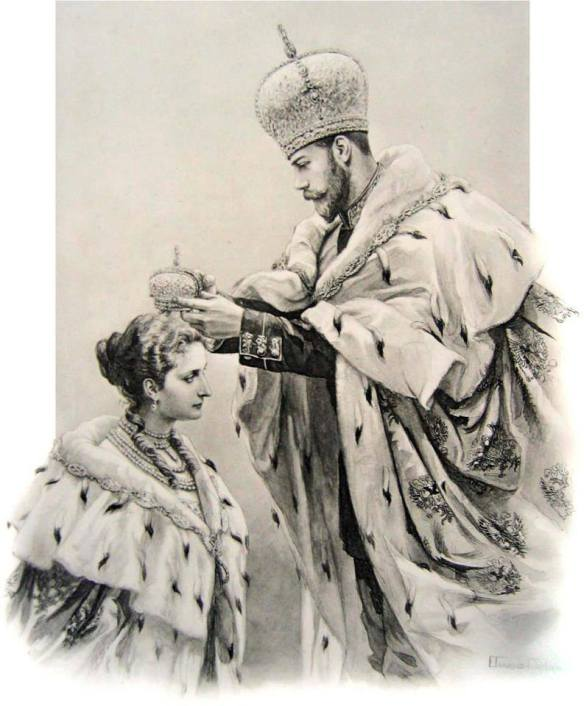 This sketch shows the moment at their joint coronation in which Nicholas II, already crowned with Catherine II's Great Imperial Crown, moves forward to place the smaller consort's crown on his wife's head. Moments before this scene, the Emperor would have briefly lifted off the crown which he had just placed on his head, and touched it to his wife's forehead, symbolically joining her to his exercise of the monarchical power entrusted to him by God.