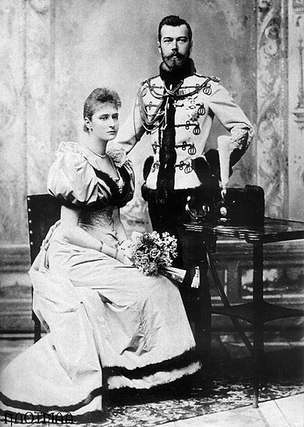 "This is the official engagement portrait of the young Nicholas and Alix, who, once chrismated into the Orthodox Church, took the name Alexandra. Her family and friends continued to call her ""Alix"" or ""Alicky"", and her husband reserved for her the pet name ""Sunny""."