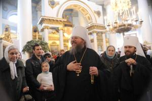 His Eminence Metropolitan Jonah, then Primate of the Orthodox Church in America (OCA) in St Catherine's, the OCA podvorie in Moscow, with His Eminence Metropolitan Hilarion (Alfeyev), Chairman of the Department of External Church Relations for the Moscow Patriarchate.