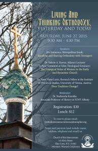 "June 27 Conference Poster for ""Living and Thinking Orthodoxy: Yesterday and Today""."