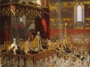 Laurits Tuxen's 1898 Coronation of Nicholas II and Alexandra Feodorovna.