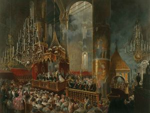 Crowning of Empress Maria Alexandrovna by Emperor Alexander II, 1856 - Coronation Book of 1856.