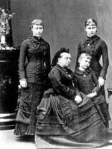 The young Elizabeth (known as Ella to her family) and Alix (the future Empress Alexandra) with their grandmother Queen Victoria.