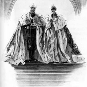 Partners in holy and royal matrimony and equal bearers of the burden of imperial role, Emperor Nicholas II and Empress Alexandra sketched as they leave the Uspenskiy Sobor in full regalia following their coronation and anointing.
