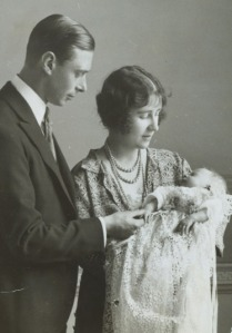 The then-Duke and Duchess of York (future King George VI and Queen Elizabeth) with their eldest daughter, Princess Elizabeth (the future Elizabeth II) in 1926.