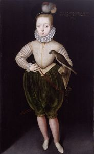 The young James VI of Scots (de facto King of Scots from July 1567, de jure from February 8, 1587 with his mother's death). James was raised by strict Presbyterian Calvinists who encouraged him to hate his mother, whom he had no memory of since he had been separated from her shortly before her forced abdication. The Dutch painter Arnold van Brounckhorst painted then 7-year old James in 1574.