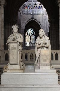 The tomb of Louis XVI and Marie Antoinette in the royal Basilica of Saint Denis outside Paris.