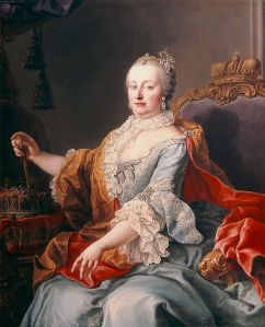 Holy Roman Empress Maria Theresa of the House of Habsburg, Queen of Hungary and Croatia, sovereign Archduchess of Austria. Queen Marie Antoinette's mother lived from 1717-1780, ruling the Habsburg dominions from 1740-80 and serving as Holy Roman Empress from 1745-65 with her husband's death. She then co-ruled with her son Joseph II (r. 1765-90) as Dowager Empress until her own death in 1780.
