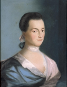Abigail Smith Adams – 1766 Portrait by Benjamin Blythe, who painted one of her husband as well.