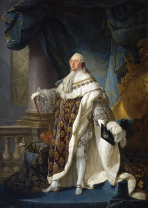 Antoine François Callet's portrait of King Louis XVI in royal robes.