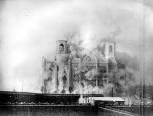 Photograph taken of the demolition of the cathedral on Stalin's orders, 5 December 1931.