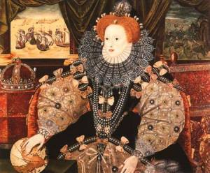 The famous Armada portrait of Queen Elizabeth I showing the destruction of the Spanish Armada by the English Royal Navy assisted by the