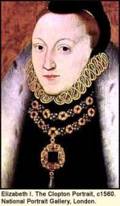 Elizabeth I, aged 26, in this 1560 portrait by Clopton. (C) British Museum, London.