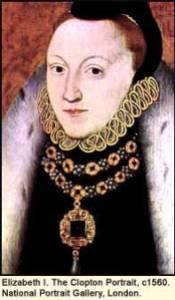 Elizabeth I, aged 26, in this 1560 portrait by Clopton. (C) British Museum, London.