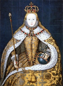 Elizabeth I painted in her coronation robes on 15 January 1559. She ascended to the throne on 17 November 1558 upon her half-sister Queen Mary I Tudor's death.