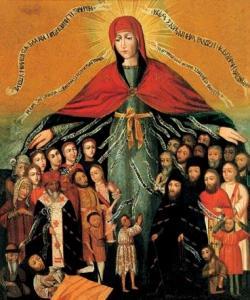 17th century Ukrainian icon of Pokrov (Pokrova in Ukrainian), Seredina.
