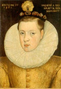 James VI of Scotland in 1586, aged 20. This was the year he betrayed his mother by agreeing to a defensive treaty with Elizabeth I, Mary's jailor.