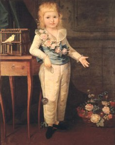 Portrait of the young Dauphin Louis Charles, heir of France, son of Louis XVI and Marie Antoinette. By Marie Louise Élisabeth Vigée-Lebrun.