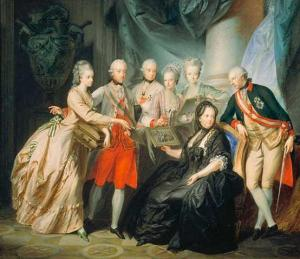 The widowed Empress Maria Theresa with her children, including Archduchess Maria Antonia (Marie Antoinette).
