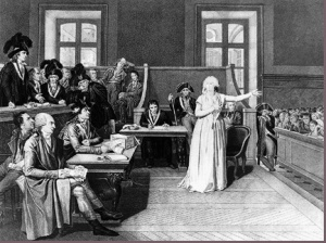 French Queen Mother Marie Antoinette at her trial, October 1793.