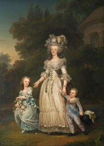 Marie Antoinette with her two eldest children, Marie-Thérèse Charlotte and the Dauphin Louis Joseph (1781-89), in the Petit Trianon's gardens, by Adolf Ulrik Wertmüller (1785).