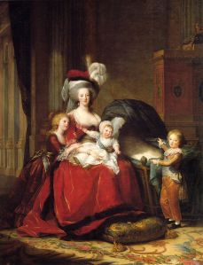 This State Portrait by Vigée-Lebrun (1787) of Marie Antoinette and her three surviving children Marie Thérèse, Louis Charles (on her lap), and Louis Joseph, was meant to help her reputation by depicting her as a mother and in simple, yet stately attire.
