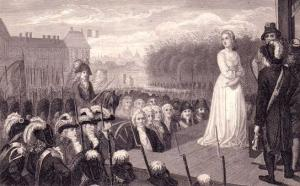 Marie Antoinette moments before her execution. In reality, her jailers cropped her hair extremely short so as not to get in the way of the guillotine (and, more realistically, to humiliate her). Unlike her husband the King, whom his killers permitted to ride to his execution in a closed coach, the Queen was seated in an open tumbrel, exposed to the jeers, taunts, and assaults of the Parisian crowd come to see her die.