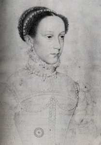 Mary, Queen of Scots sketched by French royal portraitist Francois Clouet in 1558 shortly before her wedding to Francis, Dauphin (Crown Prince) of France, son of Henri II.
