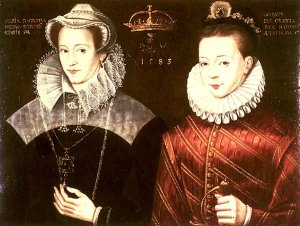 A supporter of Mary's cause painted this portrait of the Queen and her teenage son, James VI of Scots. In reality, Mary never again saw her son after he was taken from her in 1567 shortly before her forced abdication.
