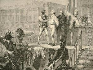 King Louis XVI on the scaffold moments before his death under the guillotine.