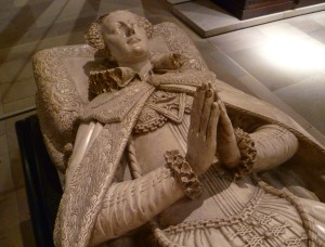 After her execution in 1587, Mary was initially buried -- against her wishes -- in the Protestant Cathedral of Peterborough, the cathedral of the same Dean who had so annoyed her in her last moments on the scaffold. In 1612 her son and heir James VI and I ordered his mother's remains unearthed and transferred to Westminster Abbey, where he paid for this magnificent marble tomb for her to be erected only yards from her hated cousin and murderer, Elizabeth I.