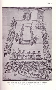 Drawing of the trial of Mary, Queen of Scots. The empty dais in the top center signified the royal authority of Queen Elizabeth as the English Sovereign in whose name the trial was conducted; Mary, seated in a lower chair to the right, argued in vain that she, as a queen in her own right, should also have a throne.
