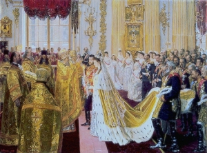 Portrait by Laurits Tuxen of the wedding of Tsar Nicholas II and the Princess Alix of Hesse-Darmstadt, which took place at the Chapel of the Winter Palace, St. Petersburg, on 14/26 November 1894.