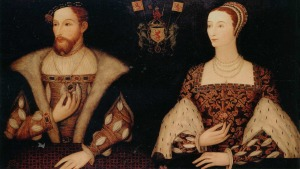 Detailed oil painting showing James V, King of Scots, and his second wife Queen Marie de Guise, daughter of Claude, duc de Lorraine and head of the powerful House of Guise.