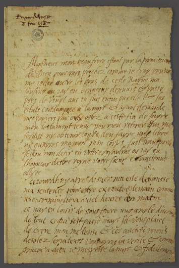 Mary Queen of Scots last letter to Henri III de France